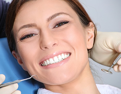 Woman receiving preventive dental care